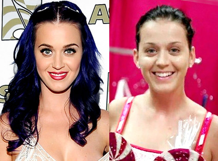 Katty Perry with and without makeup before and after