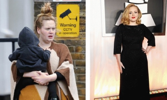 Adele without makeup before and after