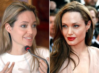 Angelina Jolie Without makeup comparison