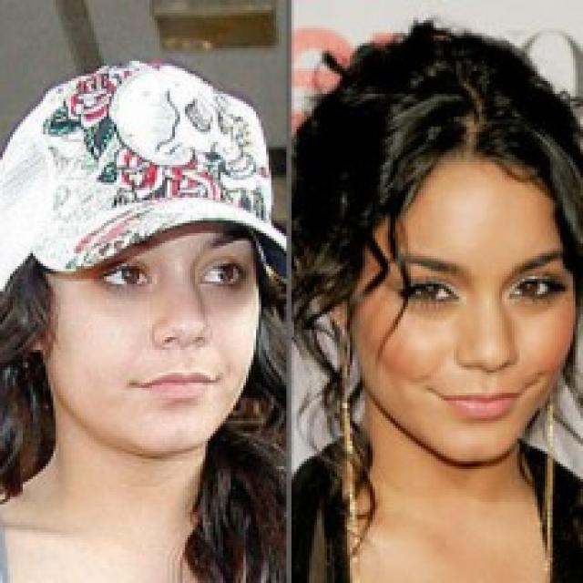 Vanessa Hudgens makeup and without makeup before and after