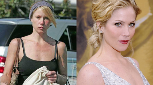 Christina Applegate without and with makeup