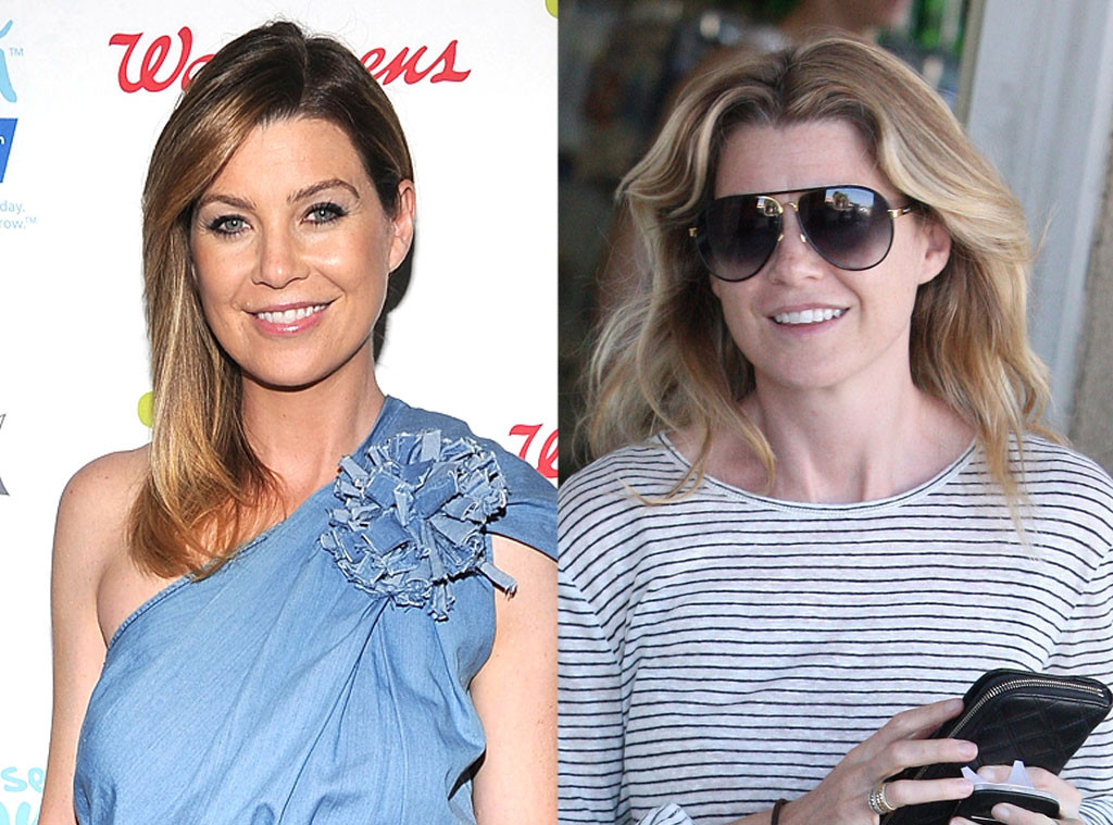 Ellen Pompeo with and without makeup