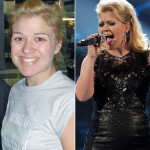 Kelly Clarkson without and with makeup