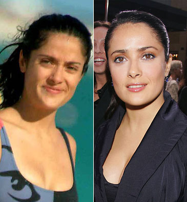 Salma Hayek without and with makeup