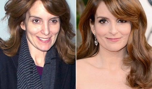 Tina Fey without and with makeup