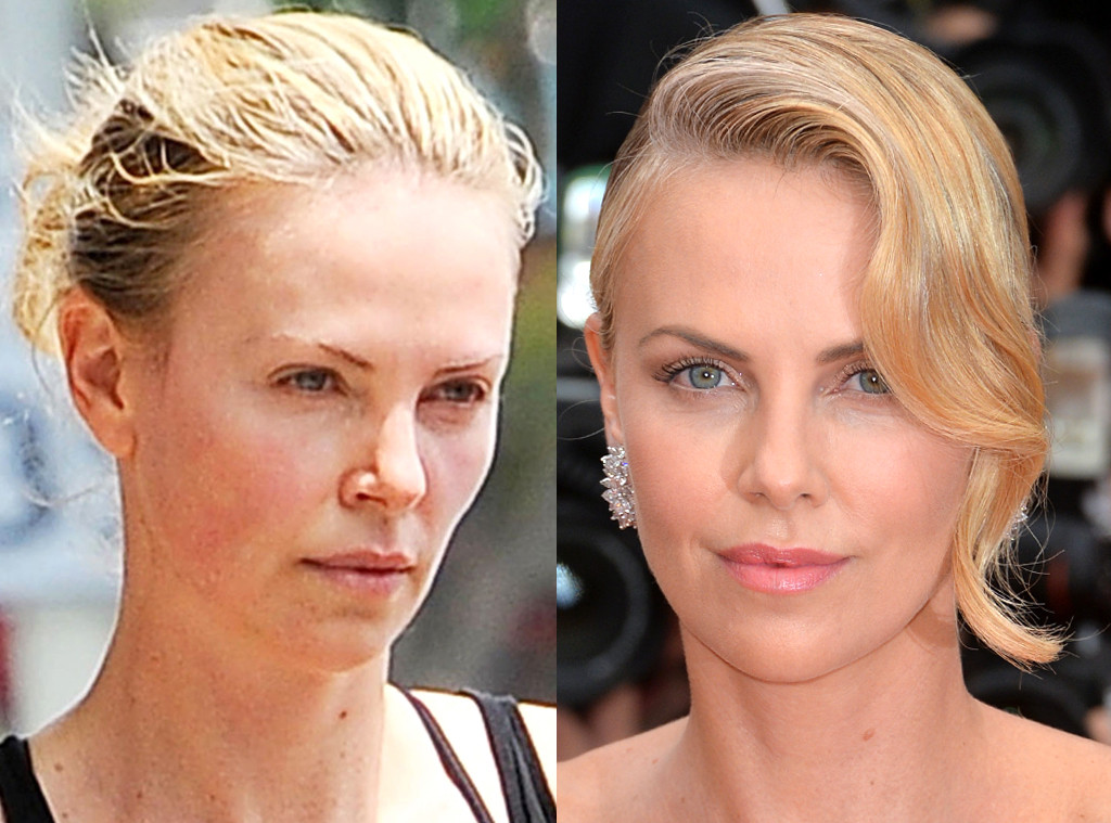 Charlize Theron without and with makeup