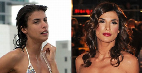 Elisabetta Canalis without and with makeup