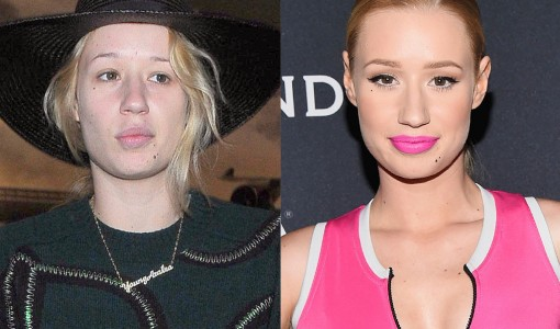 Iggy Azalea withIggy Azalea without and with makeupout and with makeup