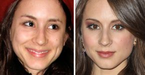 Troian Bellisario without and with makeupTroian Bellisario without and with makeup